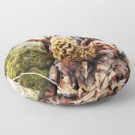 Morel Mushroom in the Wild Floor Pillow