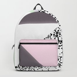 Geometrical black confetti pastel color block Backpack