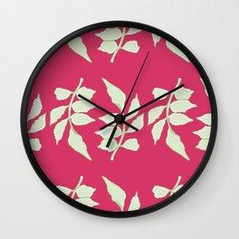 Cartoon Leaflets Pattern Wall Clock