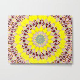 You Are My Sunshine Yellow and Pink Mandala Kaleidoscope A637A Metal Print
