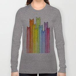 Cat Rainbow Watercolor Pattern Langarmshirt