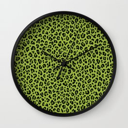 PSYCHOBILLY GREEN LEOPARD PRINT – Lime Green | Collection : Leopard spots – Punk Rock Animal Prints. Wall Clock