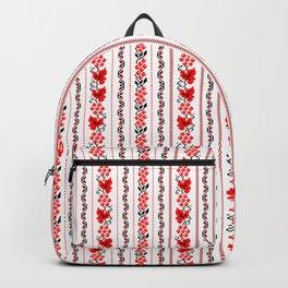 Ethno Ukrainian Pattern - Grape Guelder rose Oak - Symbol Vertical Backpack