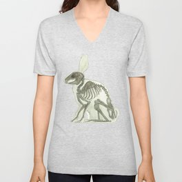 Rabbit Skeleton: Easter Gift Bunny Anatomy Unisex V-Neck