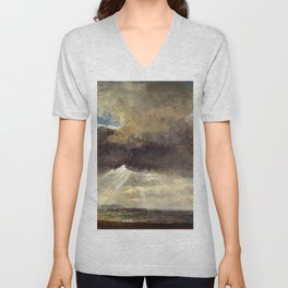 Johan Christian Dahl - Clouds And Sunbeams Over The Windberg Near Dresden Unisex V-Neck