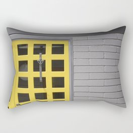 Clean Lines Architecture Design: Yellow Door, Gray Wall Rectangular Pillow