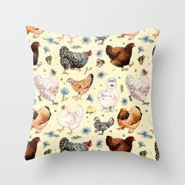 Chickens and Chicory Throw Pillow