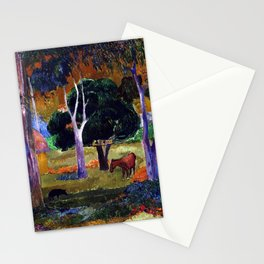 Paul Gauguin Landscape with a Pig and a Horse (Hiva Oa) Stationery Cards