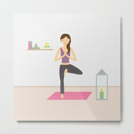 Yoga Girl In Tree Pose Cartoon Illustration Metal Print