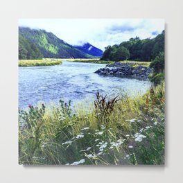 As a River Serpentines Through the Mountains Metal Print