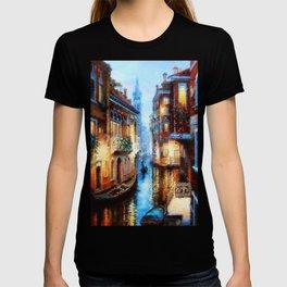 Venice Canal Digital Oil Painting T-shirt