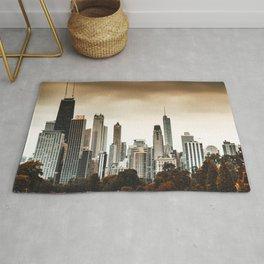 chicago skyline at dusk Rug