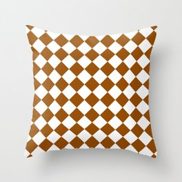 Diamonds - White and Brown Throw Pillow
