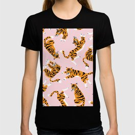 Cute tiger in the tropical forest hand drawn on pink background illustration T-shirt