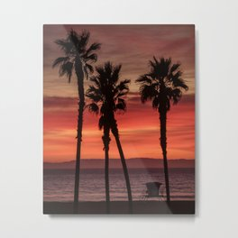 Huntington Beach Sunset Palms  12-6-20 Metal Print