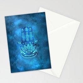 Hamsa Hand Magic Eye Blue Watercolor Art Stationery Cards