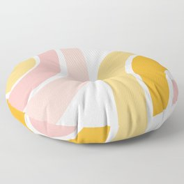 Abstract Shapes 37 in Mustard Yellow and Pale Pink Floor Pillow