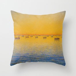 Classical Masterpiece 'Setting Sun and Boats' by Paul Signac Throw Pillow