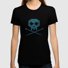 Knitted Skull (White on Blue) T-shirt
