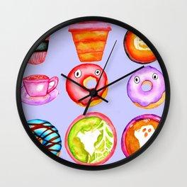 Halloween Coffee & Donuts - Grey Wall Clock