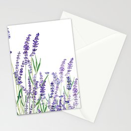 lavender watercolor horizontal Stationery Cards