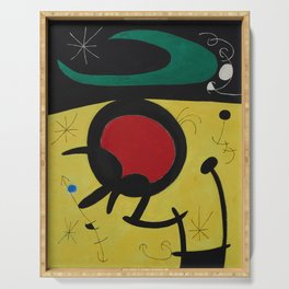 Joan Miro Vol Doiseaux, 1968, Flight of Birds Encircling the 3 Haired Woman on a Moon, Artwork, Prin Serving Tray