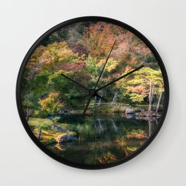 Wonderful colors at the Japanese Zen Garden at Golden Pavilion, Kyoto, Japan. Wall Clock
