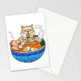 Kawaii Ramen Shiba Inu Noodle Chillin Bowl Stationery Cards