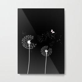 White Dandelions Butterfly Black Background Metal Print