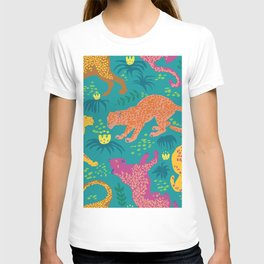 Jungle Cat Party in Vivid Green T-shirt