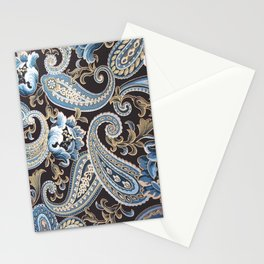Blue Brown Vintage Paisley Stationery Cards