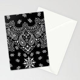 black and white bandana pattern Stationery Cards