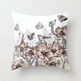 Butterfly Flowers And Butterflies Stencil Throw Pillow