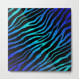 Ripped SpaceTime Stripes - Blue/Cyan Metal Print