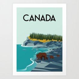 Canada bears illustration Art Print