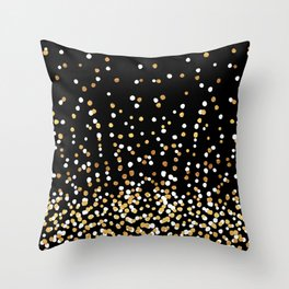 Floating Dots - White and Gold on Black Throw Pillow