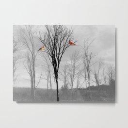 Red birds Cardinals Tree Fog A112 Metal Print