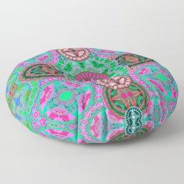 Uplifting Refreshing Mega Mandala in Pink and Green Floor Pillow