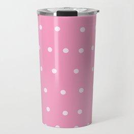 white dots on ballet slipper pink Travel Mug