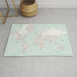 """Detailed world map with coral, seaweed and marine creatures, """"Lenore"""" Rug"""