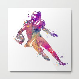 American Football Player Colorful Watercolor Art Gift Sports Art College Football Gift Metal Print