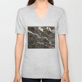 Dark Brown Marble With White Veins Unisex V-Neck