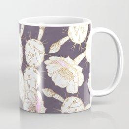 Modern white gold mauve lavender catus floral Coffee Mug