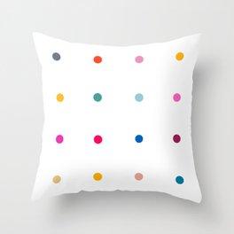 Rainbow polka dot pegboard Throw Pillow