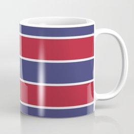 Large Red White and Blue USA Memorial Day Holiday Horizontal Cabana Stripes Coffee Mug