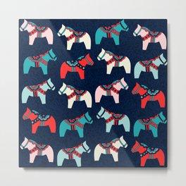 Cute Dala Horses Pattern Metal Print