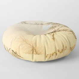 Full Moon Set Sunrise Floor Pillow