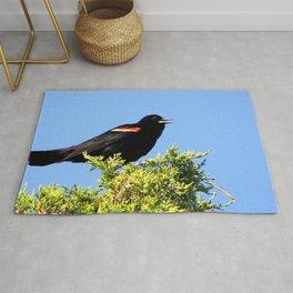 Watercolor Bird, Red-Winged Blackbird 01, Janes Island, Maryland Rug