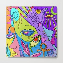 Colorful Doodle IV Metal Print