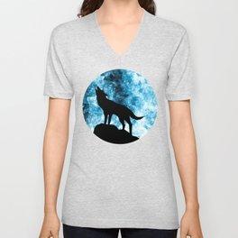Howling Winter Wolf snowy blue smoke Unisex V-Neck
